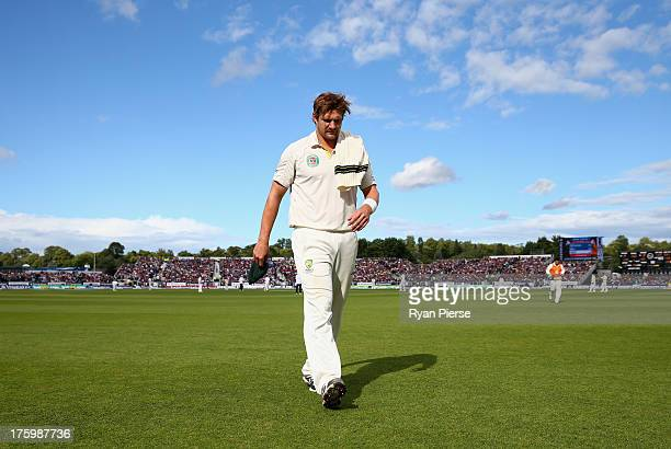 Shane Watson of Australia leaves the ground with an injury during day three of 4th Investec Ashes Test match between England and Australia at...