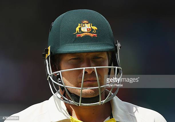 Shane Watson of Australia looks dejected after being dismissed by Jerome Taylor of West Indies during day two of the Second Test match between...
