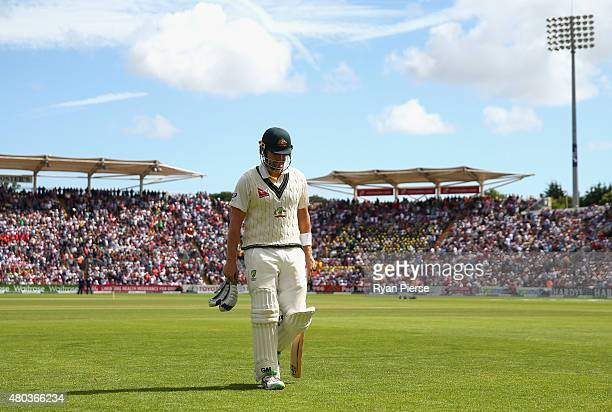Shane Watson of Australia looks dejected after being dismissed LBW by Mark Wood of England during day four of the 1st Investec Ashes Test match...