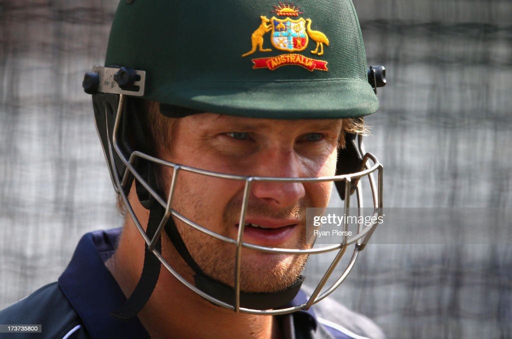 Shane Watson of Australia looks on during an Australian Nets Session at Lord's Cricket Ground on July 17, 2013 in London, England.