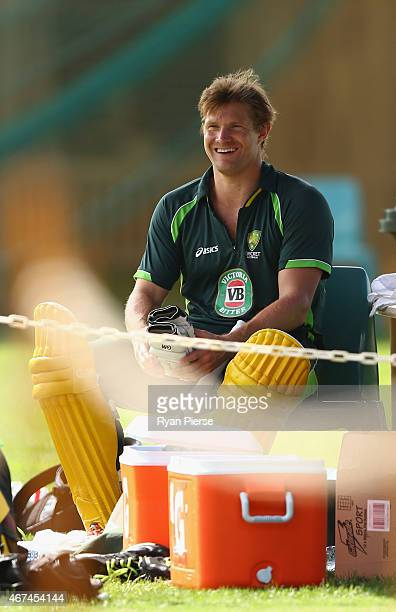 Shane Watson of Australia looks on during an Australian nets session at Sydney Cricket Ground on March 25 2015 in Sydney Australia