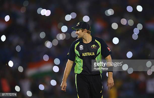 Shane Watson of Australia looks on during the ICC WT20 India Group 2 match between India and Australia at IS Bindra Stadium on March 27 2016 in...