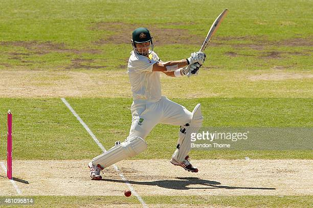 Shane Watson of Australia plays a cut shot during day two of the Fourth Test match between Australia and India at Sydney Cricket Ground on January 7...