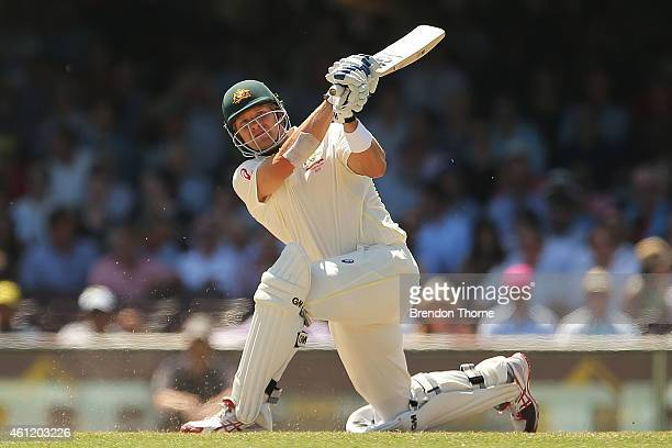 Shane Watson of Australia plays a stroke on the leg side during day four of the Fourth Test match between Australia and India at Sydney Cricket...
