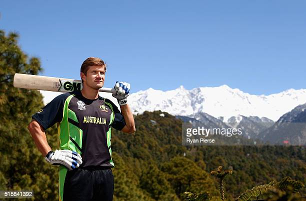 Shane Watson of Australia poses in front of the Himalayas during an Australian portrait session ahead of the ICC 2016 Twenty20 World Cup on March 16...