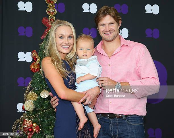Shane Watson of Australia poses with his wife Lee Watson and son Will ahead of the Cricket Australia Christmas Day Lunch at Crown Metropol on...