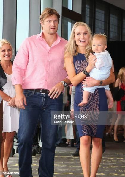 Shane Watson of Australia poses with his wife Lee Watson ...