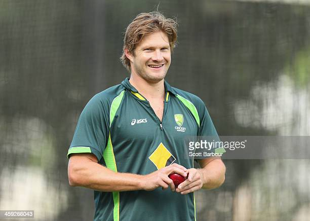 Shane Watson of Australia prepares to bowl during an Australian nets session at Melbourne Cricket Ground on December 25 2013 in Melbourne Australia
