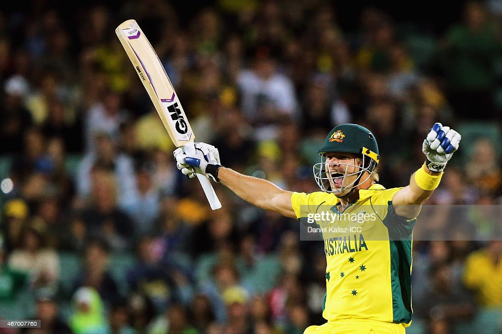 Shane Watson of Australia reacts after Australia takes victory during the 2015 ICC Cricket World Cup match between Australian and Pakistan at Adelaide Oval on March 20, 2015 in Adelaide, Australia.