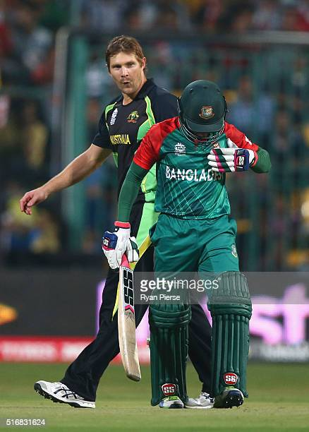Shane Watson of Australia reacts after Mushfiqur Rahim of Bangladesh was struck by a delivery during the ICC World Twenty20 India 2016 Super 10s...