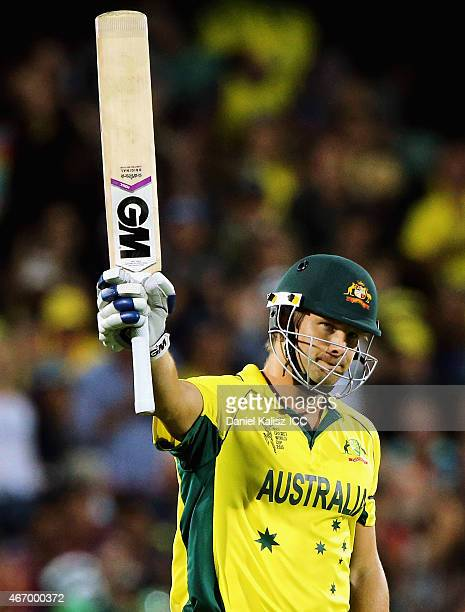 Shane Watson of Australia reacts after reaching his half century during the 2015 ICC Cricket World Cup match between Australian and Pakistan at...
