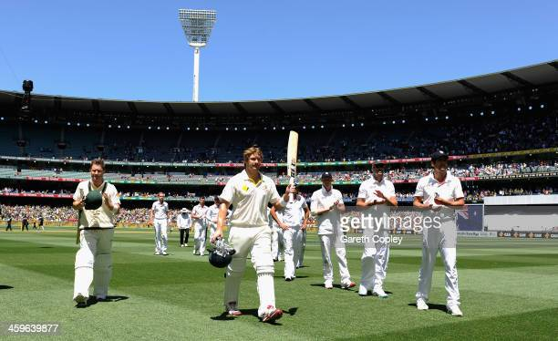 Shane Watson of Australia salutes the crowd after winning the Fourth Ashes Test Match between Australia and England at Melbourne Cricket Ground on...