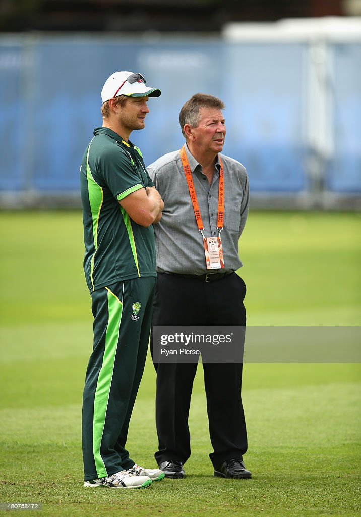 Shane Watson of Australia speaks to Australian Chairman of Selectors Rod Marsh during a nets session ahead of the 2nd Investec Ashes Test match between England and Australia at Lord's Cricket Ground on July 15, 2015 in London, United Kingdom.