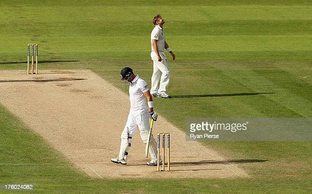 Shane Watson of Australia suffers an injury while bowling during day three of 4th Investec Ashes Test match between England and Australia at Emirates...
