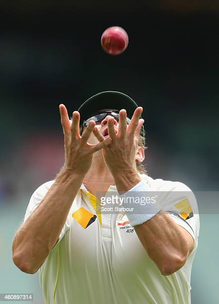 Shane Watson of Australia takes a catch to dismiss Lokesh Rahul of India during day five of the Third Test match between Australia and India at...