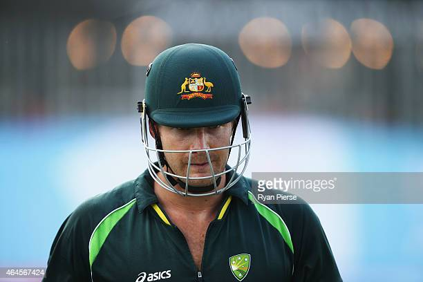 Shane Watson of Australia trains during an Australian Nets Session at Eden Park on February 27 2015 in Auckland New Zealand