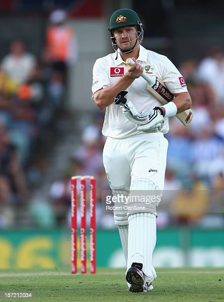 Shane Watson of Australia walks from the ground after he was dimissed during day one of the Third Test Match between Australia and South Africa at...