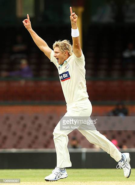 Shane Watson of NSW celebrates a wicket during day three of the Sheffield Shield match between the New South Wales Blues and the Tasmanian Tigers at...