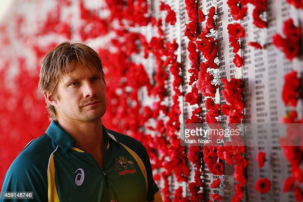 Shane Watson of the Australian Cricket team poses for a photo during the visit to The Australian War Memorial on November 18 2014 in Canberra...