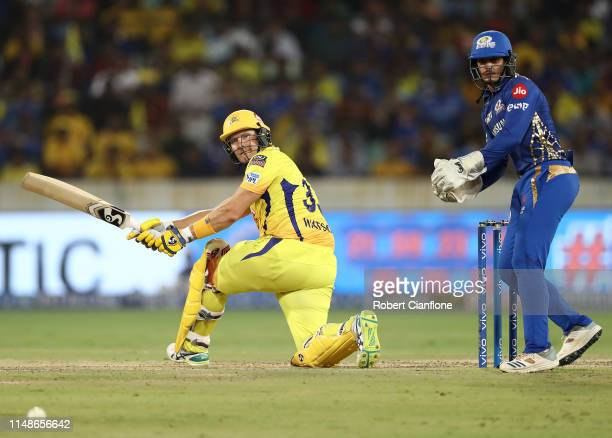 Shane Watson of the Chennai Super Kings bats during the Indian Premier League Final match between the the Mumbai Indians and Chennai Super Kings at...