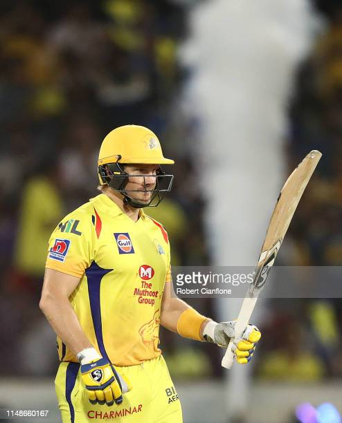 Shane Watson of the Chennai Super Kings celebrates scoring his fifty runs during the Indian Premier League Final match between the the Mumbai Indians...