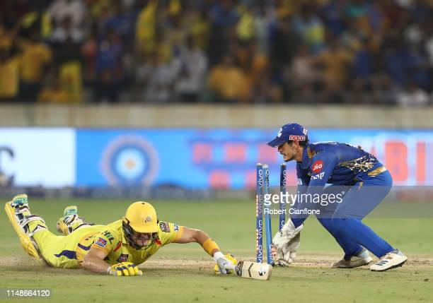 Shane Watson of the Chennai Super Kings is run out during the Indian Premier League Final match between the the Mumbai Indians and Chennai Super...