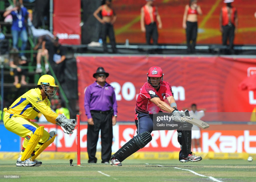 Shane Watson of the Sixers square cuts a delivery during the Champions League Twenty20 match between Chennai Super Kings and Sydney Sixers at Bidvest Wanderers Stadium on October 14, 2012 in Johannesburg, South Africa.