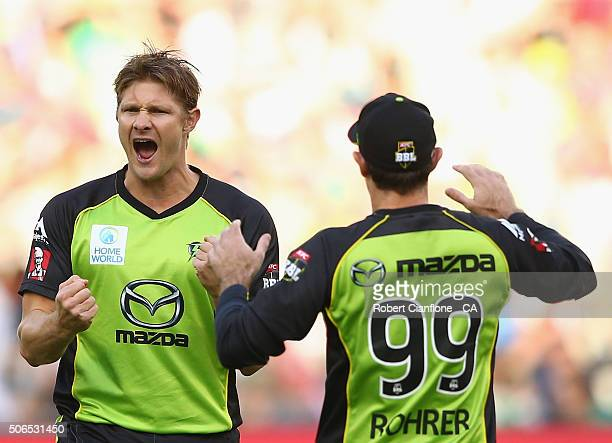 Shane Watson of the Thunder celebrates after taking the wicket of Marcus Stoinis of the Stars during the Big Bash League final match between...