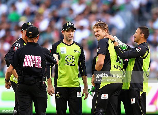 Shane Watson of the Thunder celebrates after taking the wicket of Luke Wright of the Stars during the Big Bash League final match between Melbourne...
