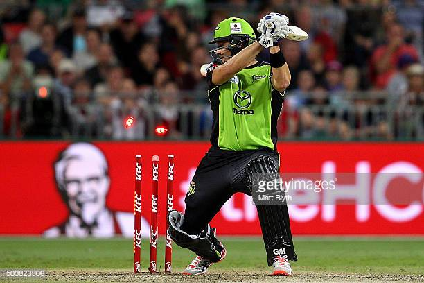 Shane Watson of the Thunder is bowled by Andrew Tye of the Scorchers during the Big Bash League match between the Sydney Thunder and the Perth...