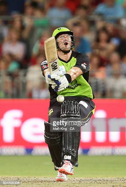 Shane Watson of the Thunder is hit in the groin while batting during the Big Bash League match between the Sydney Thunder and the Melbourne Renegades...