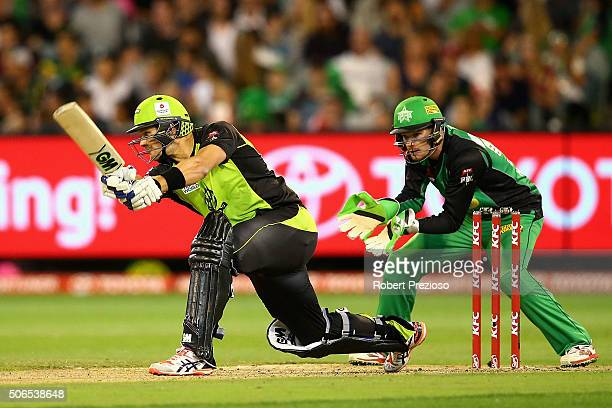 Shane Watson of the Thunder plays a shot during the Big Bash League final match between Melbourne Stars and the Sydney Thunder at Melbourne Cricket...