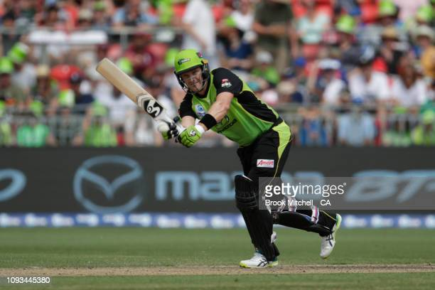 Shane Watson of the Thunder plays a stroke during the Big Bash League match between the Sydney Thunder and the Adelaide Strikers at Spotless Stadium...