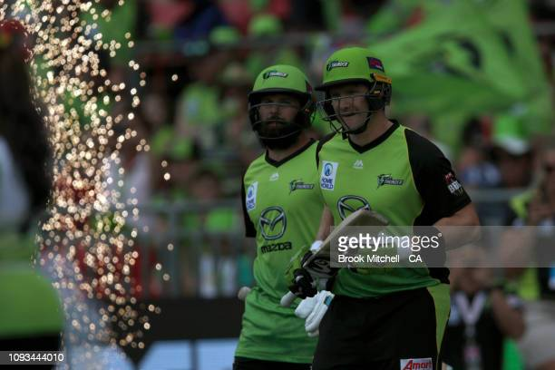 Shane Watson of the Thunder runs onto the field during the Big Bash League match between the Sydney Thunder and the Adelaide Strikers at Spotless...