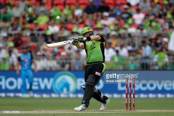 Shane Watson plays a pull stroke during the Big Bash League match between the Sydney Thunder and the Adelaide Strikers at Spotless Stadium on January...