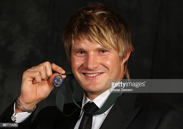 Shane Watson poses with the 2010 Allan Border Medal award during the 2010 Allan Border Medal at Crown Casino on February 15 2010 in Melbourne...