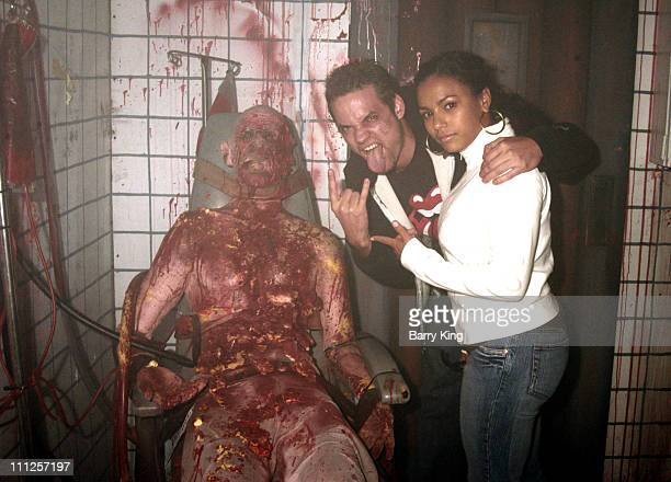 Shane West and April Hernandez in The Asylum Maze during The Stars of 'ER' Visit Knott's Scary Farm's 33rd Annual Halloween Haunt at Knott's Berry...