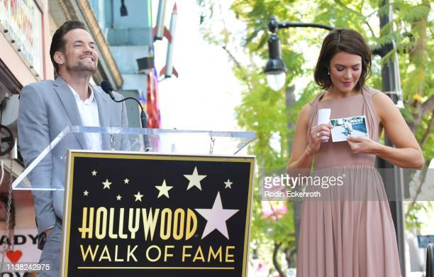 Shane West and Mandy Moore attend a ceremony honoring Mandy Moore with a star on the Hollywood Walk Of Fame on March 25 2019 in Hollywood California