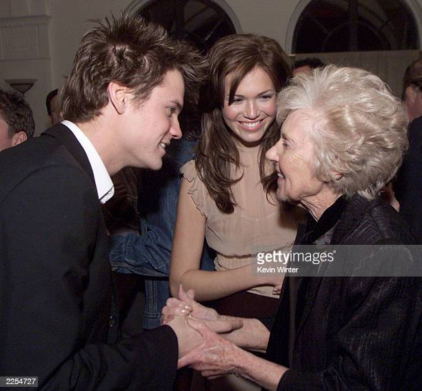 Shane West meets Mandy Moore's grandmother Eileen Friedman at the Hollywood Athletic Club after the premiere of A Walk To Remember at the Chinese...