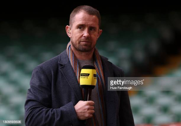 Shane Williams Ex Wales and British Lions international now TV pundit commentate on the game during the Guinness Pro14 match between the Dragons and...