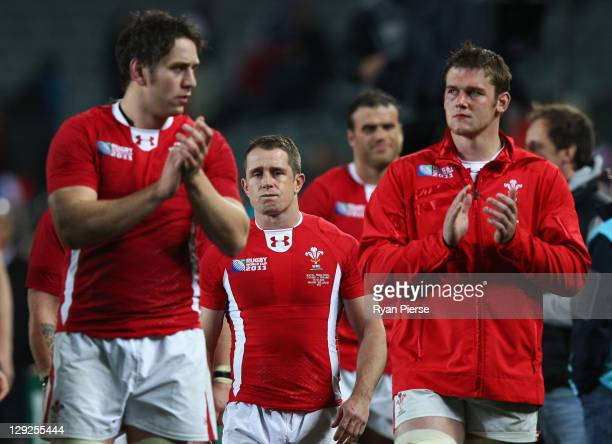Shane Williams of Wales shows his emotions after the the semi final one of the 2011 IRB Rugby World Cup between Wales and France at Eden Park on...