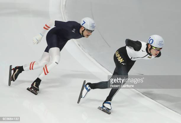 Shane Williamson of Japan competes during the Men's Speed Skating Mass Start Semifinal 1 on day 15 of the PyeongChang 2018 Winter Olympic Games at...