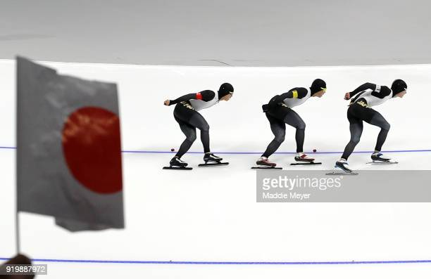 Shane Williamson of Japan Seitaro Ichinohe of Japan and Shota Nakamura of Japan compete during the Men's Team Pursuit Speed Skating Quarter Finals on...