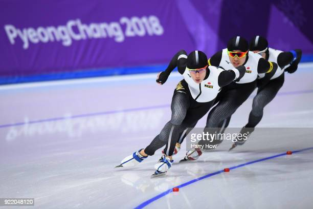 Shane Williamson Seitaro Ichinohe and Ryosuke Tsuchiya of Japan compete during the Speed Skating Men's Team Pursuit Final C against Italy on day 12...