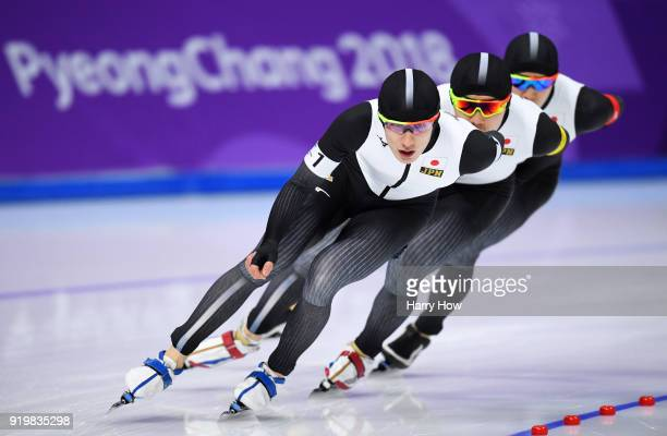 Shane Williamson Seitaro Ichinohe and Shota Nakamura of Japan compete during the Men's Team Pursuit Speed Skating Quarter Finals on day nine of the...