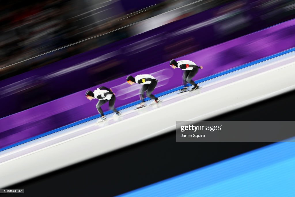 Shane Williamson, Seitaro Ichinohe and Shota Nakamura of Japan compete during the Men's Team Pursuit Speed Skating Quarter Finals on day nine of the PyeongChang 2018 Winter Olympic Games at Gangneung Oval on February 18, 2018 in Gangneung, South Korea.
