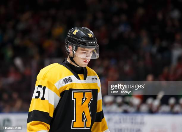 Shane Wright of the Kingston Frontenacs looks on during an OHL game against the Oshawa Generals at the Tribute Communities Centre on December 5, 2019...