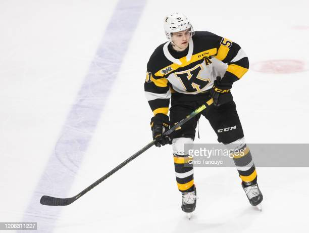 Shane Wright of the Kingston Frontenacs skates during an OHL game against the Oshawa Generals at the Tribute Communities Centre on February 12, 2020...