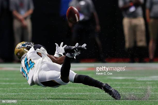 Shane Wynn of the Jacksonville Jaguars fails to pull in this reception against the Atlanta Falcons at MercedesBenz Stadium on August 31 2017 in...