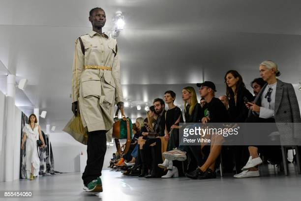 Shanelle Nyasiase walks the runway during the Loewe show as part of the Paris Fashion Week Womenswear Spring/Summer 2018 on September 29 2017 in...